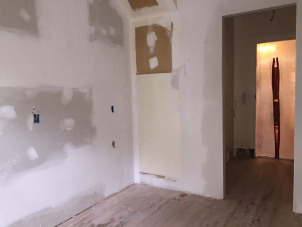 Kitchen renovation with drywall