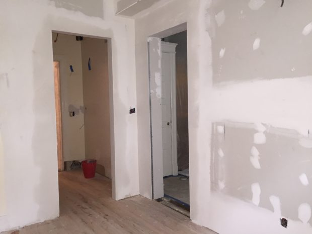 Kitchen renovation in DC with drywall doorways