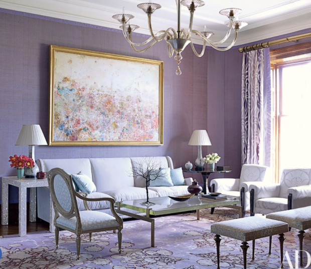 Purple living room with lavender grasscloth on the walls and purple rug