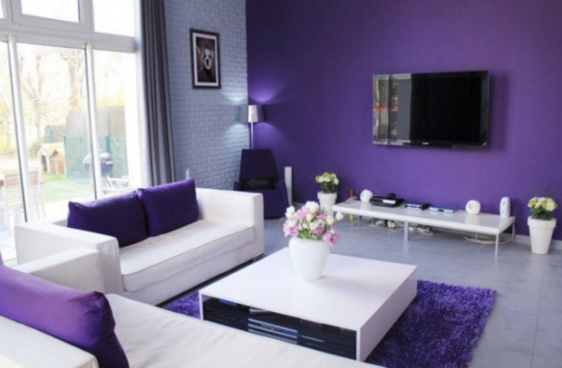 Contemporary purple and white living room with accent wall