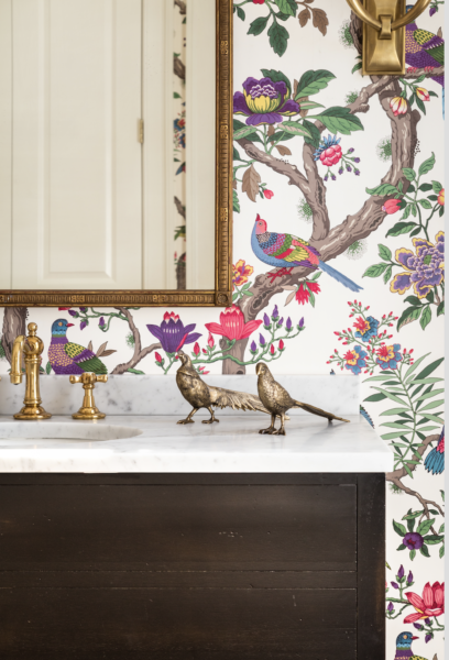 Multi-colored floral wallpaper with brass birds