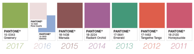 Row of color squares - Pantone's recent Colors of the Year